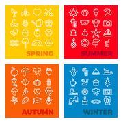 Season icons - spring, summer, autumn, winter Stock Illustration