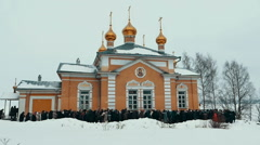 Orthodox Church Procession in Winter Stock Footage