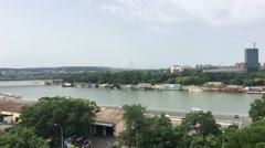 View from Belgrade Fortress in Belgrade Stock Footage