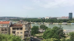 View from Belgrade Fortress in Belgrade Serbia Stock Footage