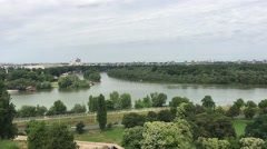 View from Belgrade Fortress at the Sava and Danube river Stock Footage
