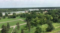 View from Belgrade Fortress at the Danube river Stock Footage