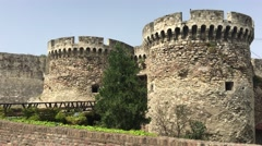 Towers from the Kalemegdan Fortress in Belgrade Stock Footage