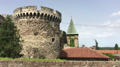 The Ruzica church and a tower from the Kalemegdan Fortress Stock Footage