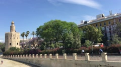 Punte San Telmo with the Torre del Oro in Seville - stock footage