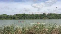 Canoes at the Canal de Alfonso XIII in Seville Stock Footage