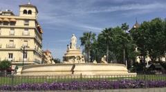 The Fountain Puerta de Jerez in Seville Stock Footage