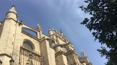 The Cathedral of Saint Mary of the See (Seville Cathedral) in Seville Stock Footage