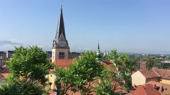 St. James and St. Florians church in the old town of Ljubljana Stock Footage