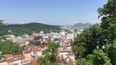 View from the Ljubljana castle over the old town of Ljubljana - stock footage