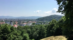 View from the Ljubljana castle over the old town of Ljubljana Stock Footage