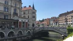 Ljubljanica river in the old town of Ljubljana Stock Footage