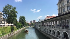 Cruise boat at the Ljubljanica river Stock Footage