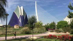The Agora and the Assut de l'Or Bridge at the City of Arts and Sciences Stock Footage