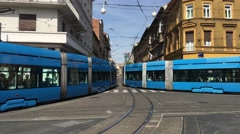 Pan from trams passing by at the Draskoviceva street downtown Zagreb Stock Footage