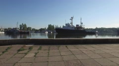 Stone seafront, view of the river from the warships. Day of the Ukrainian Navy Stock Footage