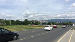 Traffic at Sveucilisna livada in Zagreb Stock Footage