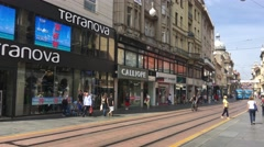 Pan from a tram passing by downtown Zagreb Stock Footage