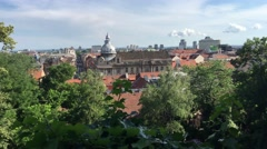 Old town city overview in Zagreb Stock Footage