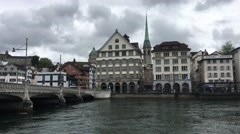 Predigerkirche and the Limmat river in Zurich Stock Footage