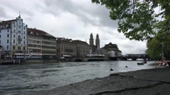 The Limmat river in Zurich Stock Footage