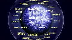 DANCE Text Animation and Disco Ball, Loop, 4k Stock Footage