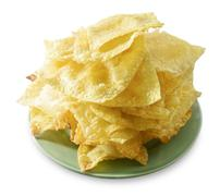 Asian Appetisers, Delicious Deep Fried Wonton in A White Dish Isolated on Whi Stock Photos