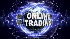 ONLINE TRADING Text Animation with Keywords and Earth, Loop, 4k Stock Footage