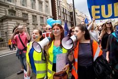 LONDON - July 2nd: Protesters at the march for europe protest on July the 2nd Stock Photos