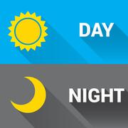 Sun and moon in sky, day and night. Vector Stock Illustration