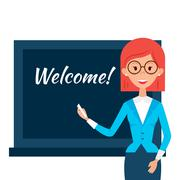 School Teacher with Welcome Word over Chalkboard - stock illustration