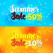 Summer Sale Promo Banners over Abstract Blurred Background - stock illustration