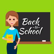 Teacher with Book and Back to School Blackboard - stock illustration