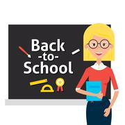 Teacher with Glasses and Book and Back to School Blackboard - stock illustration