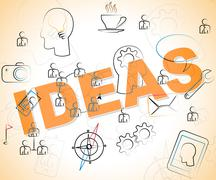 Ideas Word Shows Thinking Creativity And Deciding - stock illustration