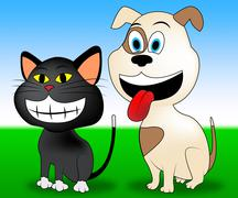 Happy Pets Showing Domestic Animals And Feline Stock Illustration
