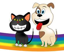 Dog Cat Rainbow Represents Colorful Doggy And Kitten Stock Illustration