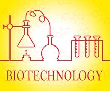 Biotechnology Research Shows Scientist Equipment And Microbiology - stock illustration
