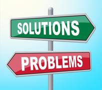 Solutions Problems Means Difficult Situation And Achievement - stock illustration