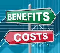 Benefits Costs Signs Represent Expenses And Compensation Stock Illustration