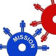 Mission Cogs Represents Aspirations Achievement And Vision - stock illustration