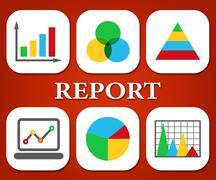 Report Graphs Represent Data Diagram And Information - stock illustration