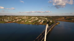 Aerial Bridge Juscelino Kubitschek (Ponte JK) neighbourhood Brasília DF Stock Footage