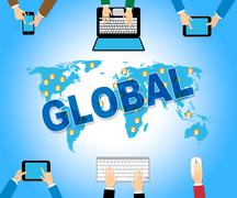 Global Business Represents Web Site And Biz - stock illustration