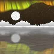 Arctic pole vector landscape with aurora borealis - stock illustration