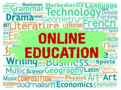 Online Education Meaning Web Site And Study - stock illustration