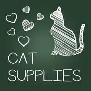 Cat Supplies Indicates Pet Feline And Goods Stock Illustration