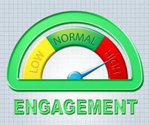 High Engagement Showing Engaged Indicator And Measure - stock illustration
