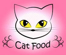 Cat Food Indicates Feline Eating And Cuisine Stock Illustration