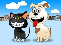 Town Pets Representing Domestic Cat And Felines - stock illustration